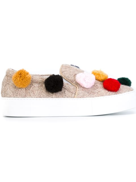 Pompom-embellished knitted slip-on trainers