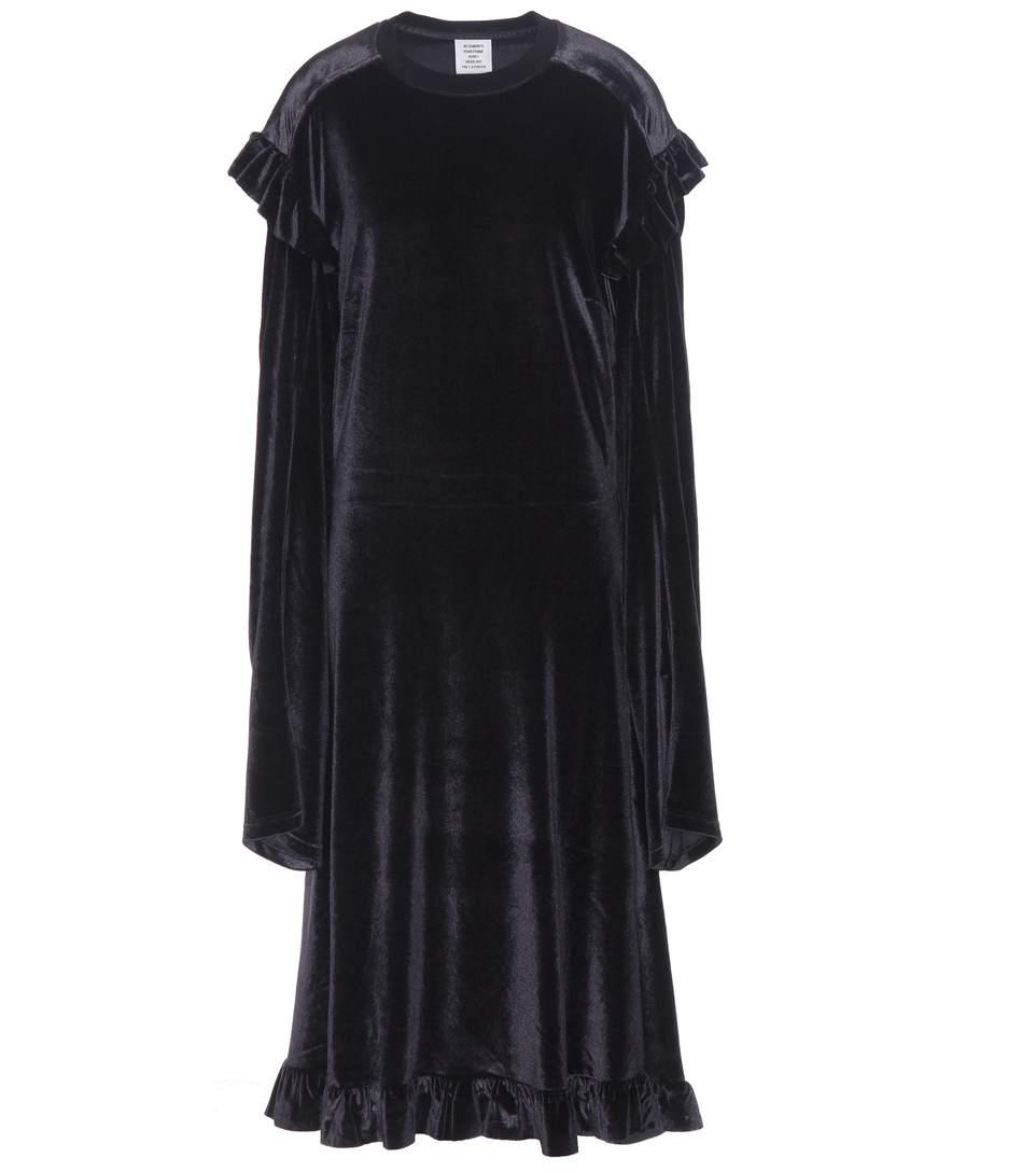 VELVET DRESS WITH RUFFLES