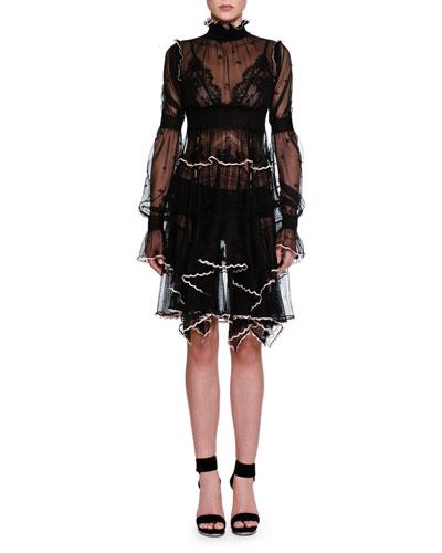Alexander Mcqueen Silks Long-Sleeve Turtleneck Lace Dress, Black/Tulle