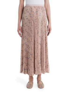 Triangle-print silk crepe de Chine pleated skirt