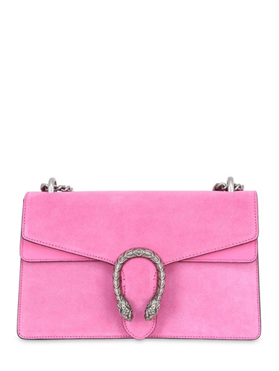 DIONYSUS SMALL SUEDE SHOULDER BAG, BRIGHT PINK