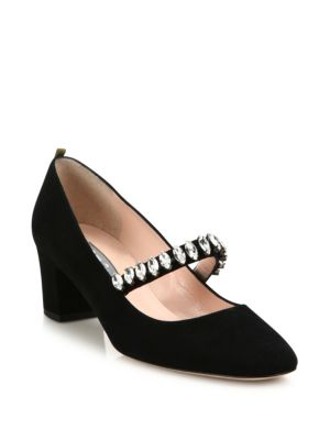 Dazzle Crystal & Suede Mary Jane Pumps