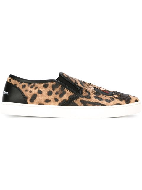 London Designer Patch Leopard Print Sneakers