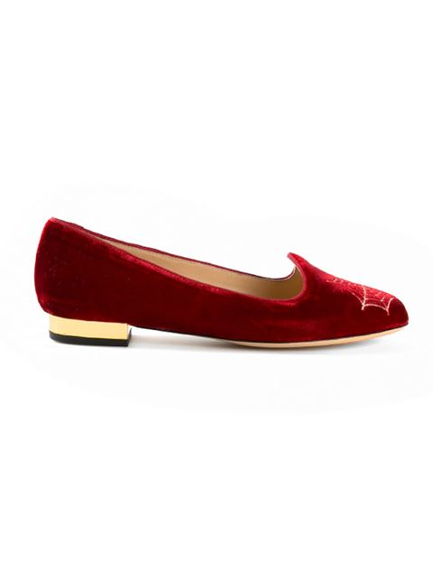 WOMAN EMBELLISHED EMBROIDERED VELVET SLIPPERS RED
