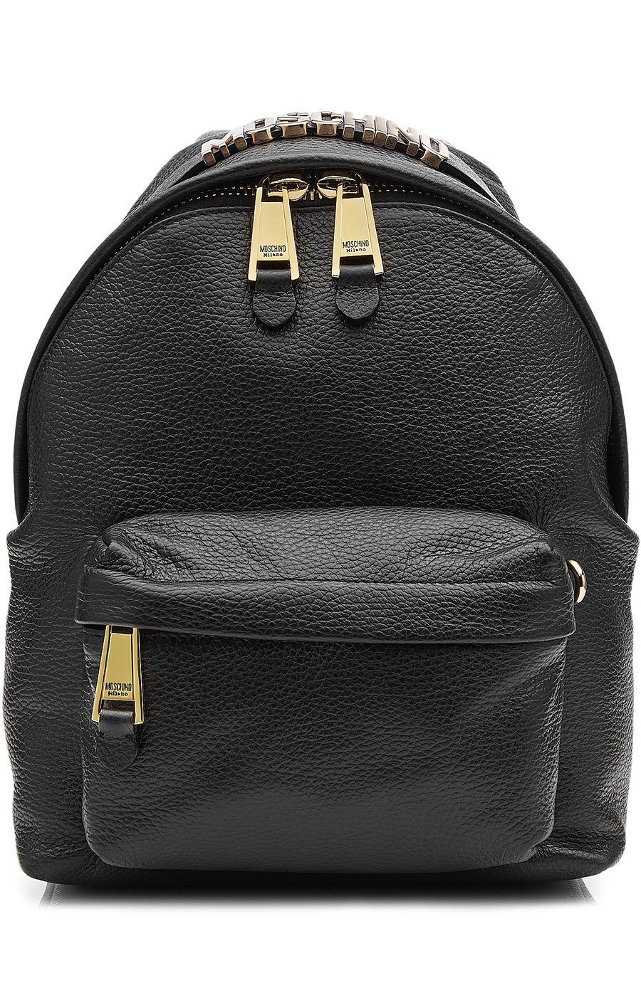 Leather Backpack with Gilded Logo Embellishment