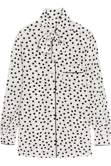 Pussy-bow polka-dot silk crepe de chine blouse