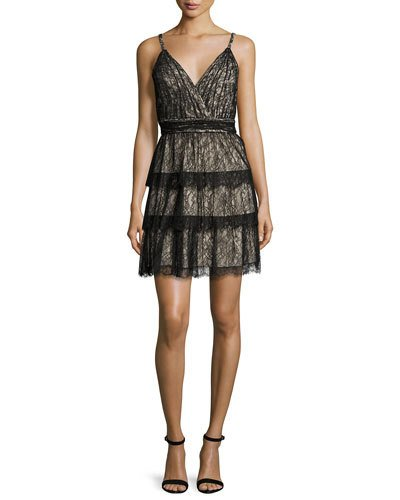 Alice And Olivia  OLIVE TIERED LACE MINI DRESS, BLACK/BROWN