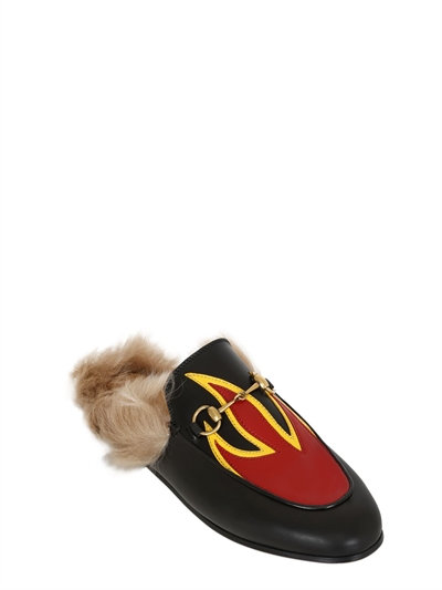 Princetown Leather And Lamb Fur Flame Slippers