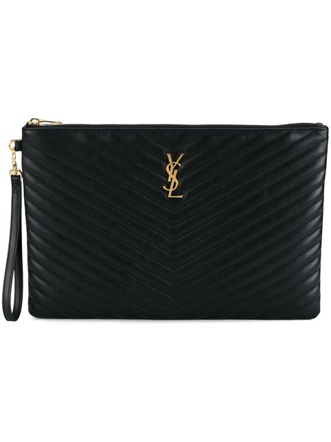 Saint Laurent Black Quilted Large Leather Pouch   ModeSens 19d2d38303