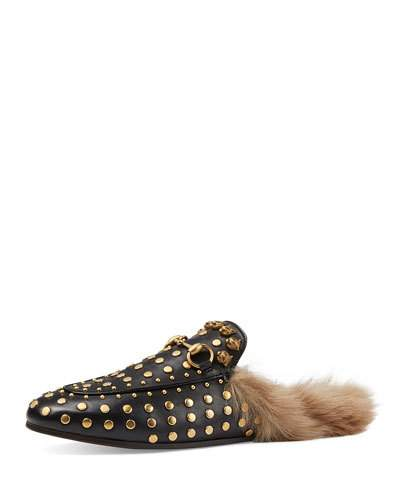 'Princetown' Studded Genuine Shearling Mule Loafer (Women)