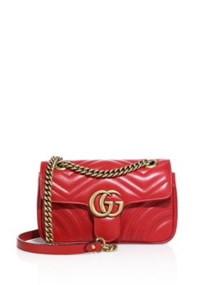 SUPERMINI GG MARMONT 2.0 MATELASSE LEATHER SHOULDER BAG - RED