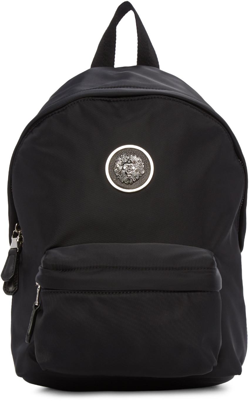 Black Small Nylon Lion Medallion Backpack