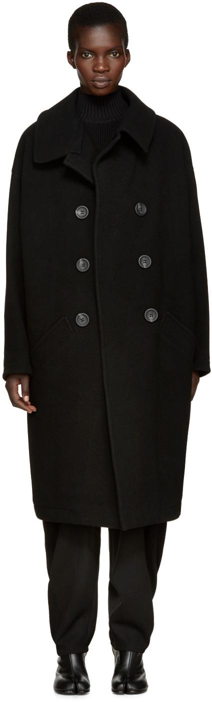Y's Wools Black U-Big Coat