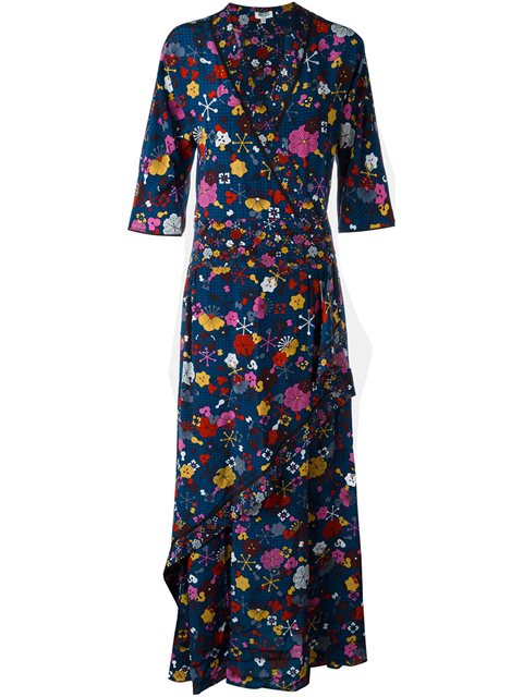 FLOOR-LENGTH PRINTED SILK MAXI DRESS