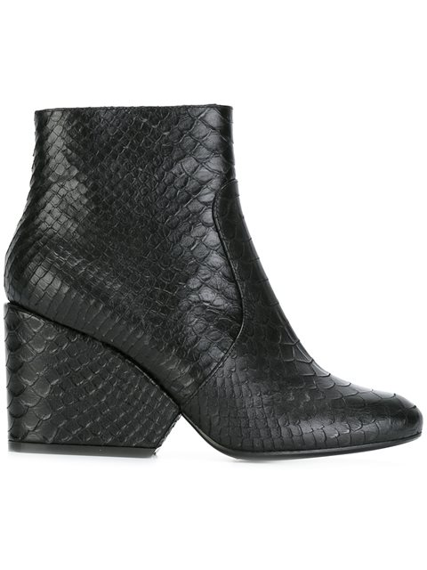 Toots Snake Embossed High Heel Booties
