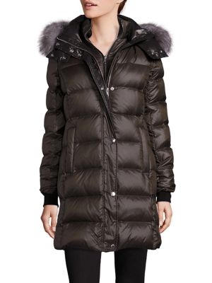 Fox Fur-Trimmed Long Puffer Coat