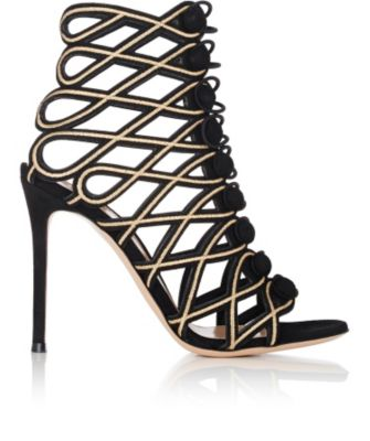 Passemeterie Metallic-Embroidered Suede Cage Sandals