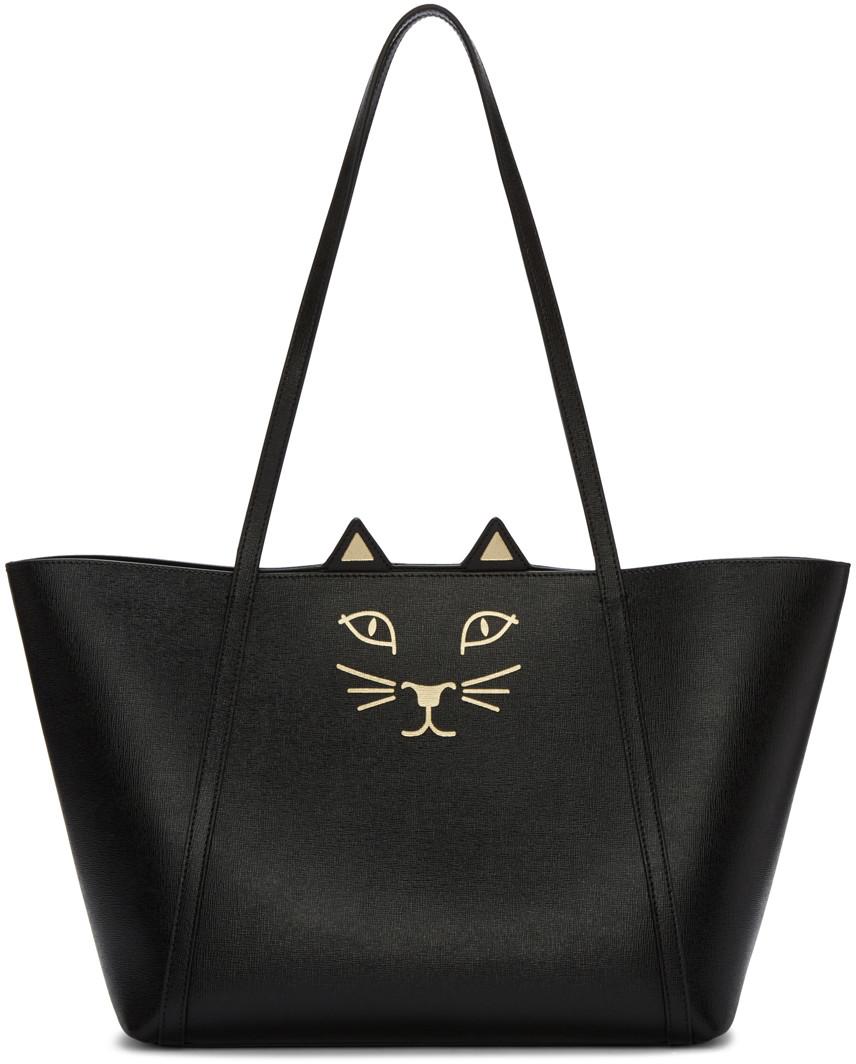 'Mini Feline Shopper' saffiano leather tote