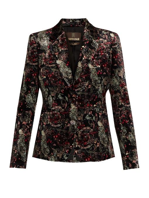 Morris-print velvet blazer
