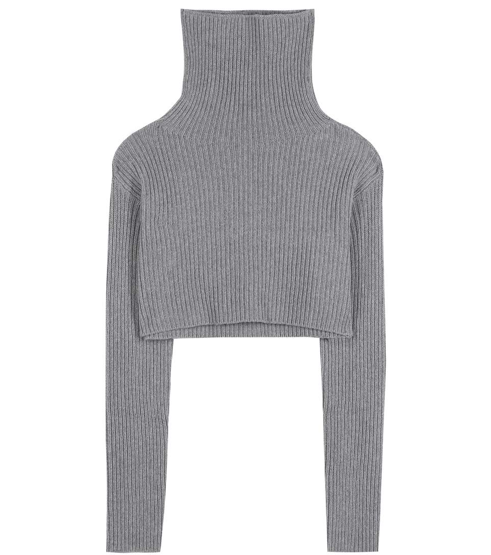 Cropped wool and cashmere turtleneck sweater