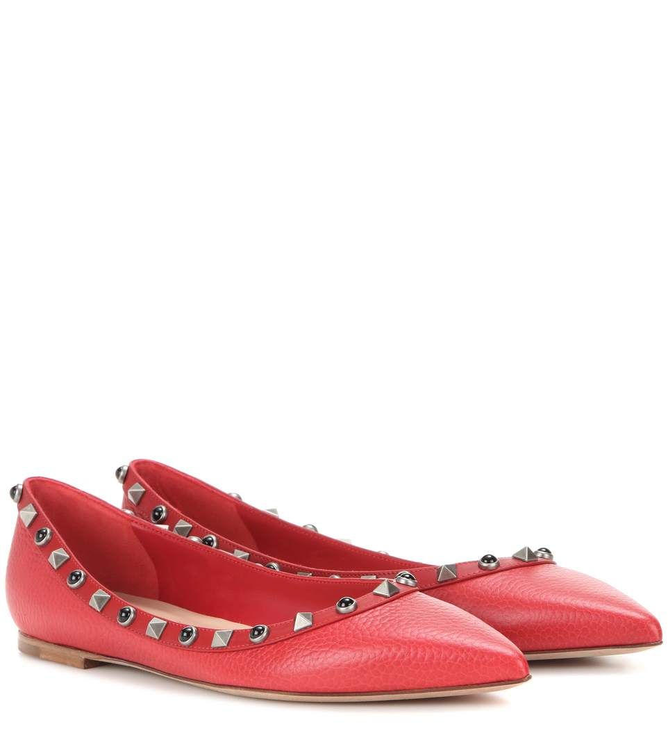 ROCKSTUD LEATHER BALLERINA FLATS
