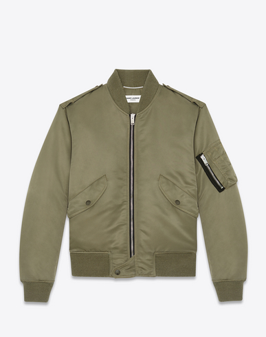 SAINT LAURENT Classic Bomber Jacket In Khaki Nylon