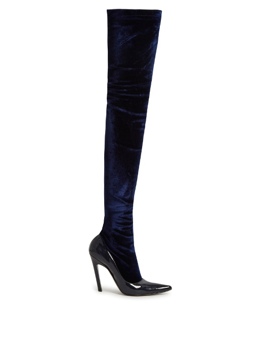 Boudoir over-the-knee velvet and leather boots