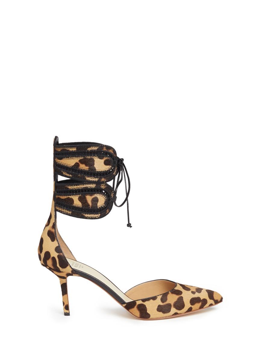 Francesco Russo Leathers Leopard print calfhair ankle tie pumps
