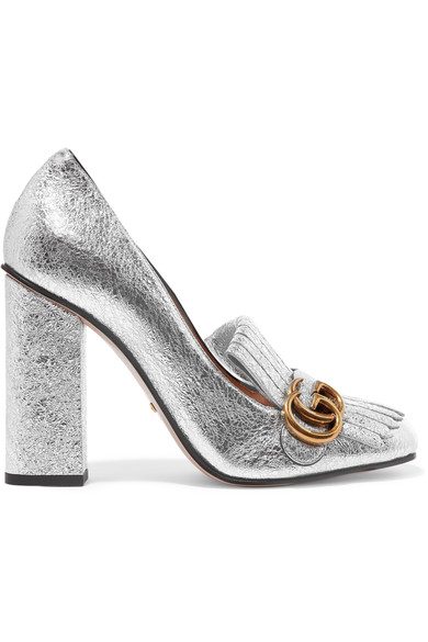 GG High-Heel Fringed Marmont Pumps in Silver