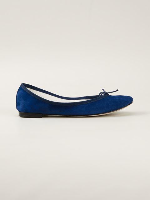 Blue Goatskin Suede Cendrillon Ballerina Flat