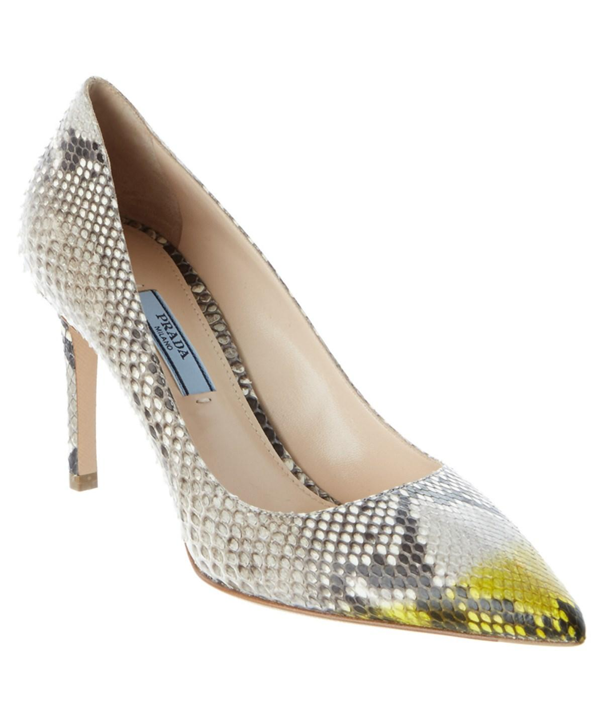 SNAKESKIN EMBOSSED LEATHER POINTY-TOE PUMP'