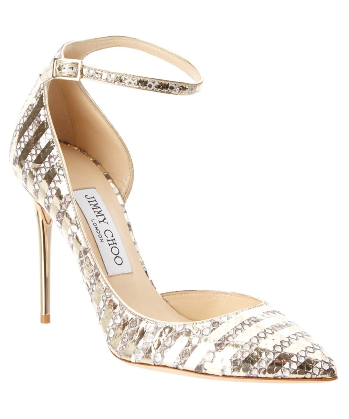 JIMMY CHOO LUCY 100 SNAKESKIN EMBOSSED LEATHER PUMP'