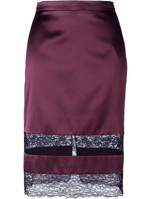 lace panel pencil skirt
