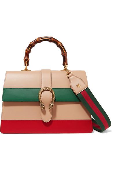 Small Dionysus Stripe Bamboo Top Handle Bag