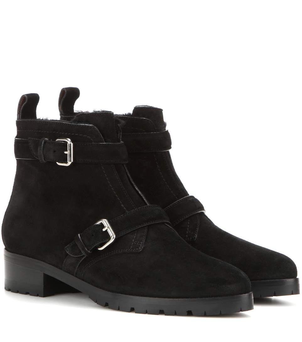 Aggy shearling-lined suede ankle boots