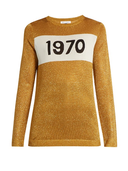 1970 round-neck intarsia-knit sweater