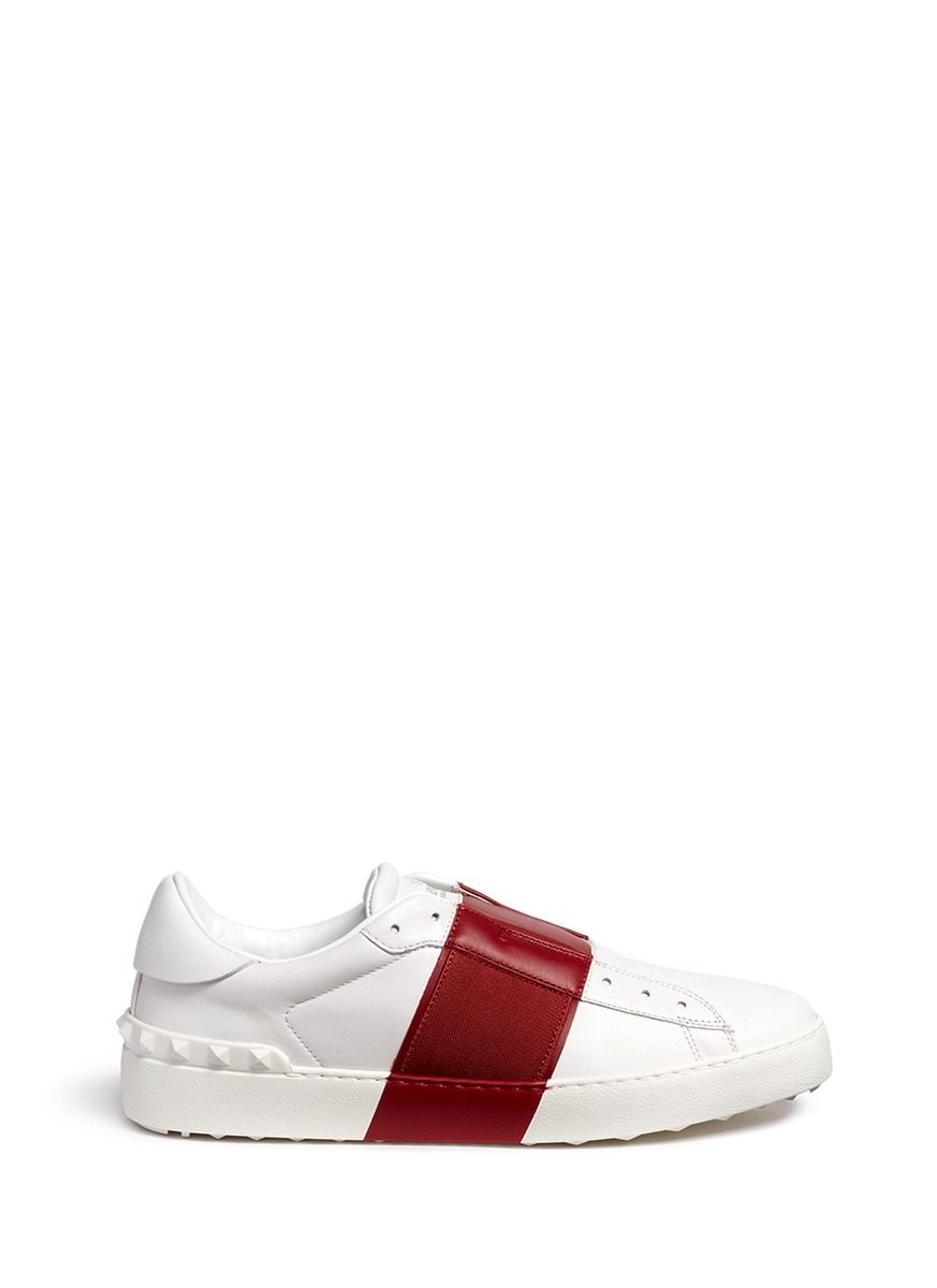 Colourblock leather slip-on sneakers