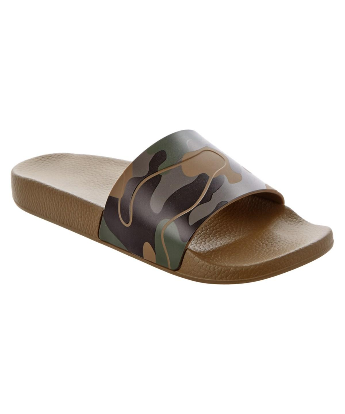 CAMOUFLAGE RUBBER SLIDE SANDAL, ARMY GREEN-DEEP C