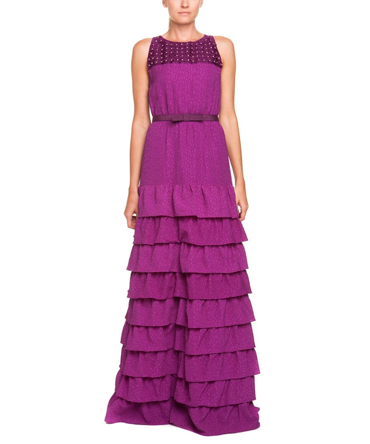 MAXMARA PURPLE RUFFLE BELTED GOWN