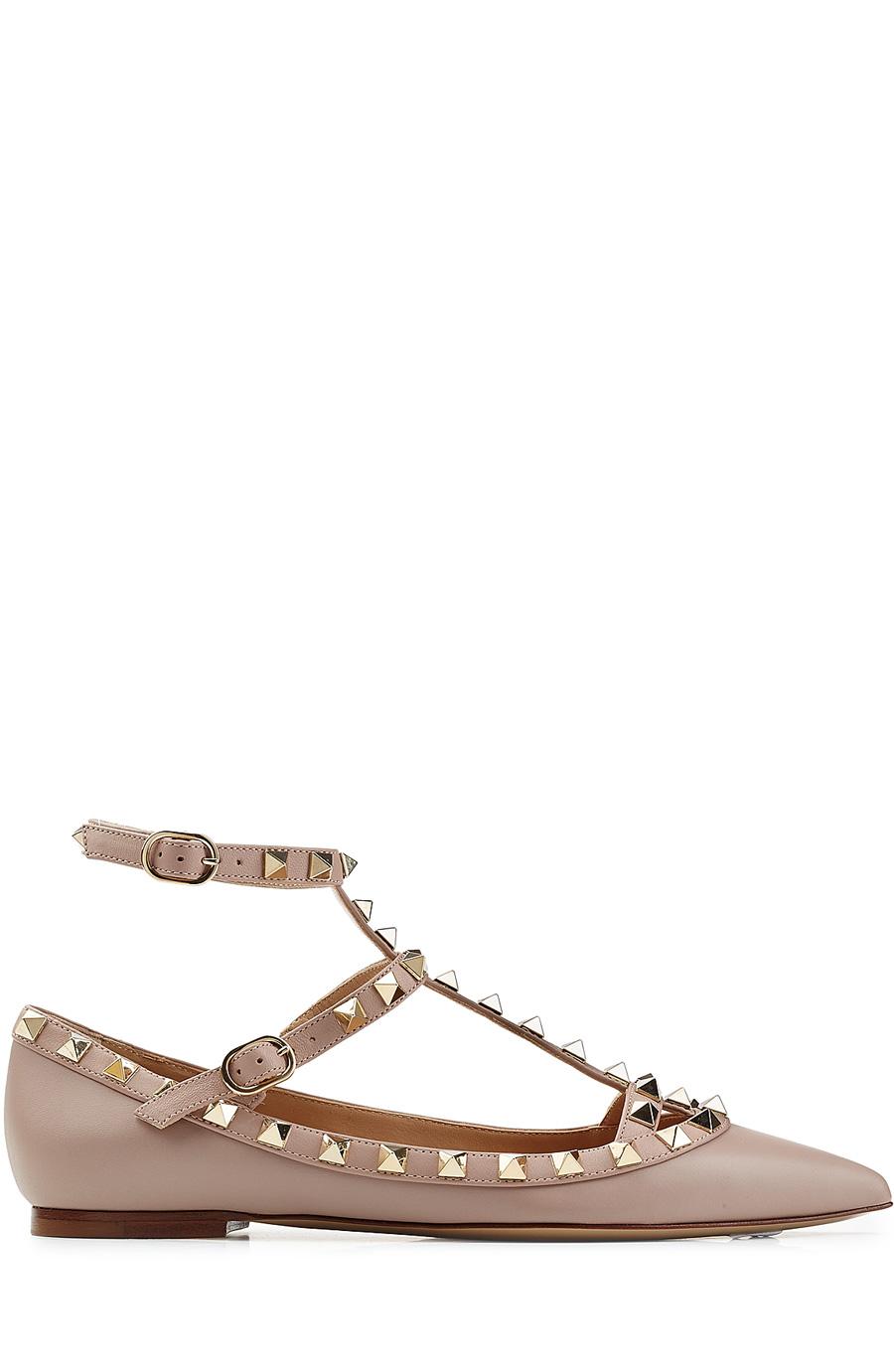 Valentino Ballerinas Rockstud Leather Flats