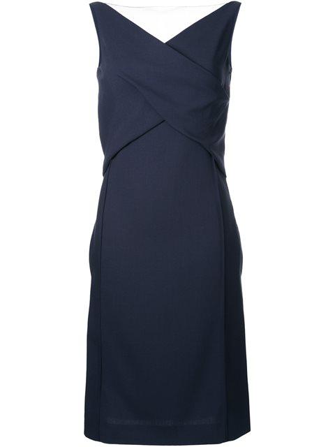 crossed detailing mid dress