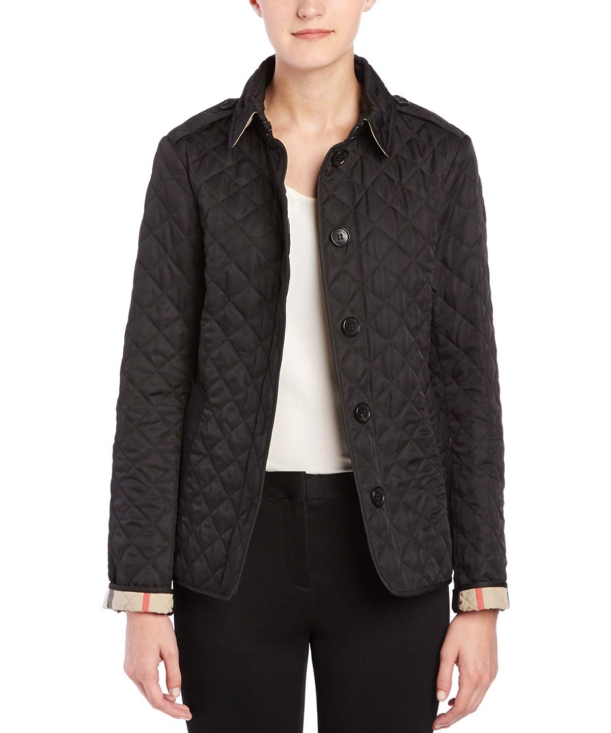 BURBERRY WOMENS  ASHURST DIAMOND QUILTED JACKET, XL, BLACK