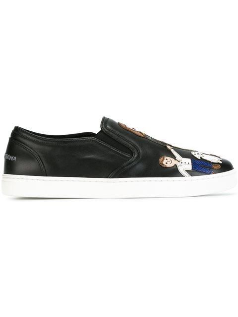 Family patch slip-on sneakers