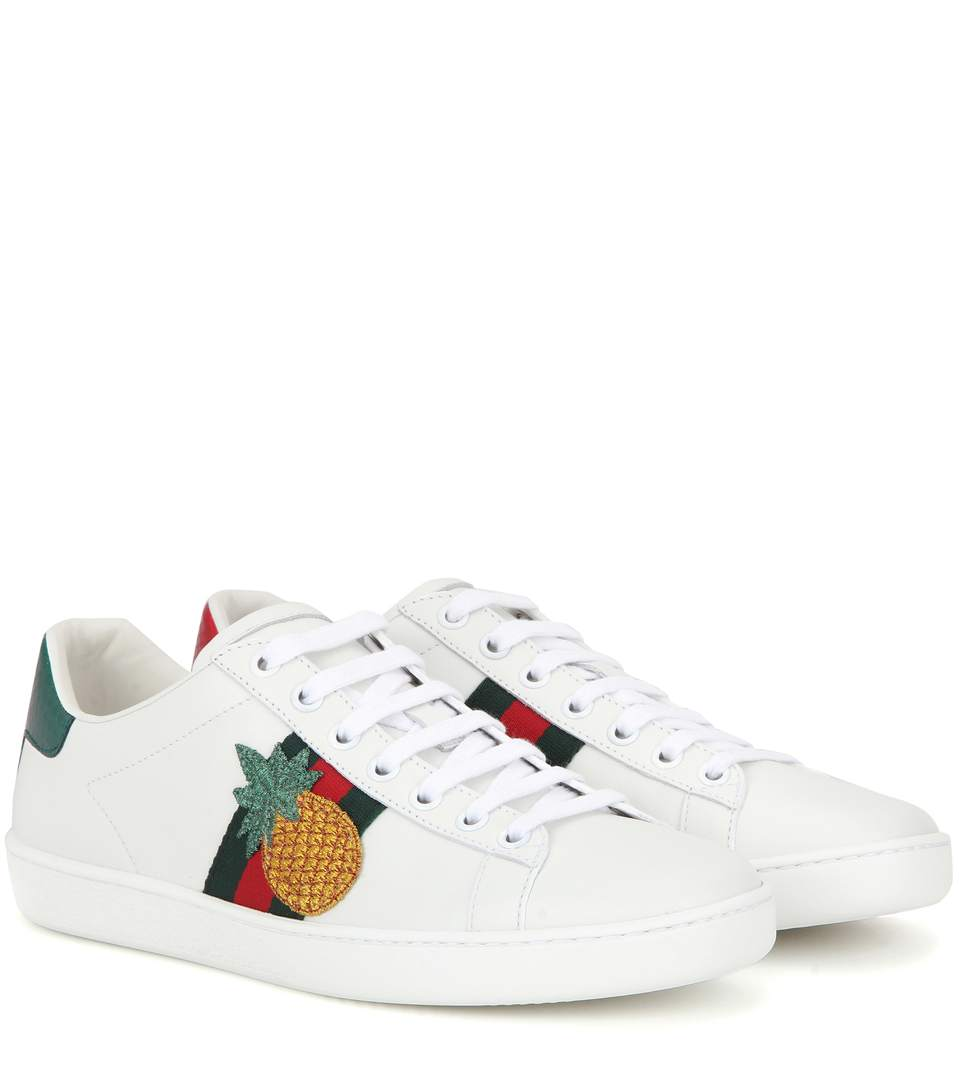 NEW ACE PINEAPPLE-EMBELLISHED LEATHER TRAINERS