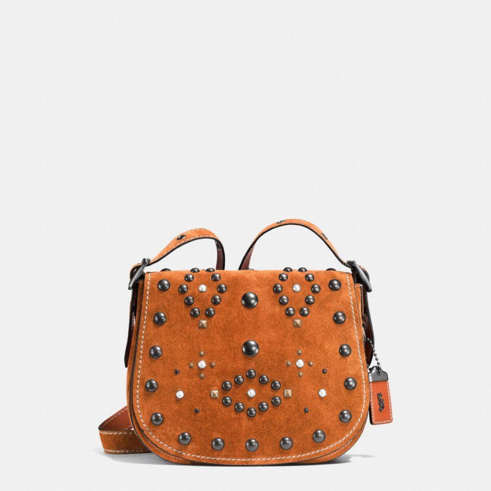 Saddle Small embellished suede crossbody bag