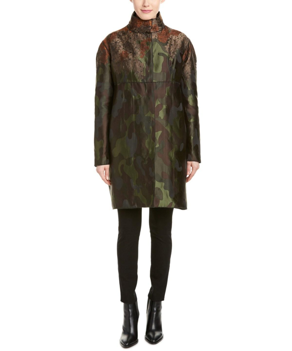 MONCLER SANDRA CAMO AND FLORAL COAT
