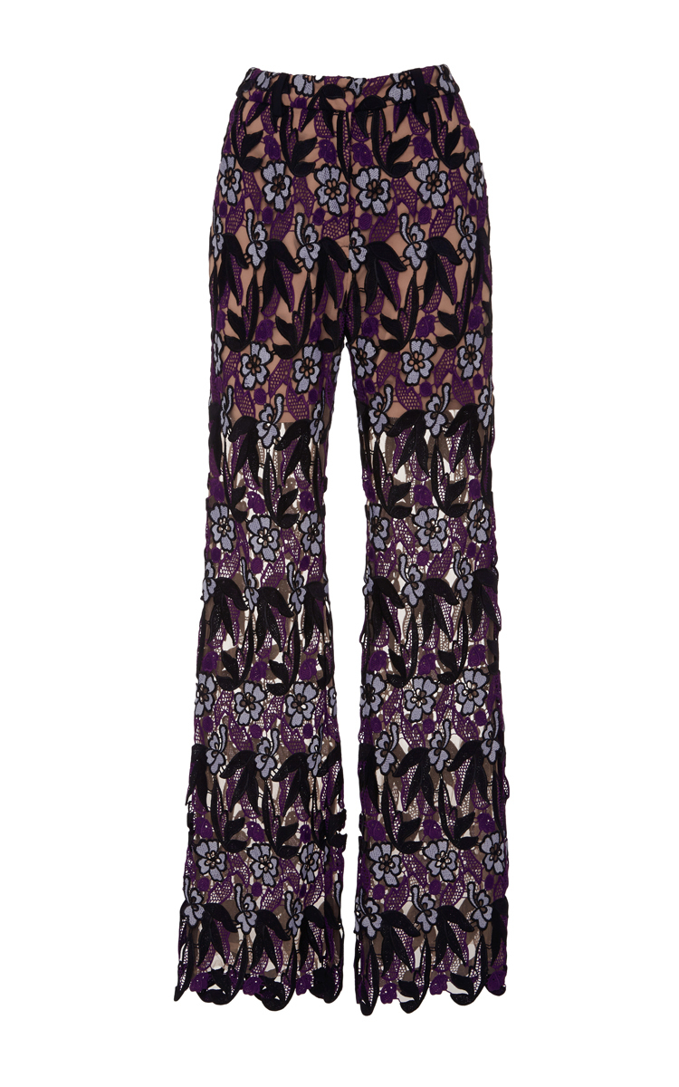FLORAL MACRAME TROUSERS