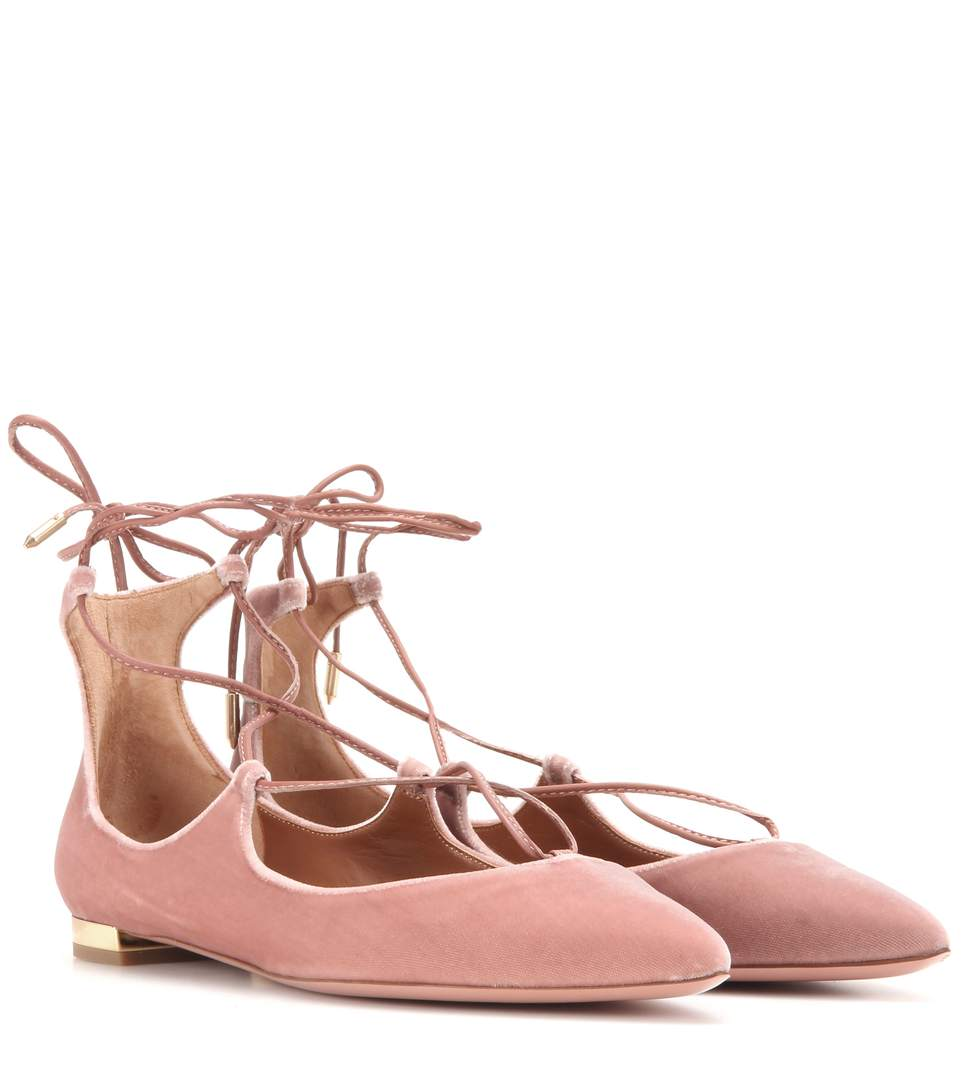 10MM CHRISTY LACE-UP SUEDE FLATS
