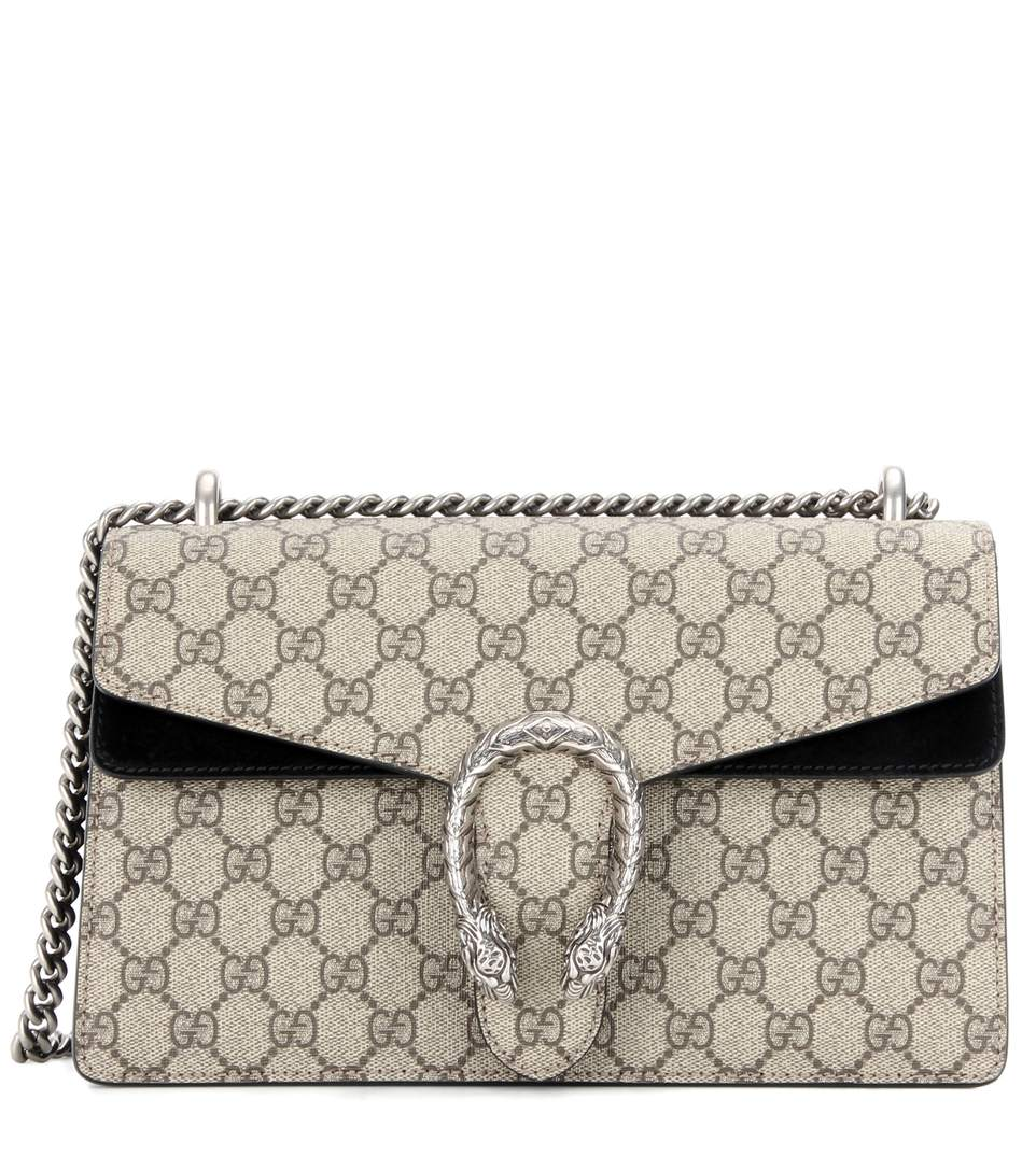 f217b712f99e14 Gucci Dionysus Gg Supreme Small Coated Canvas And Suede Shoulder Bag ...