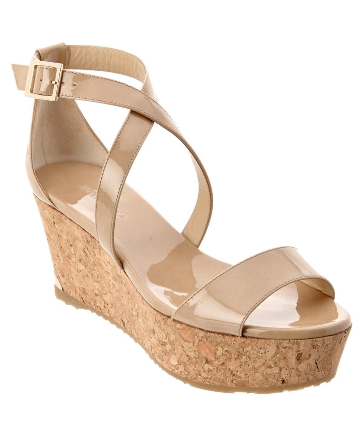 JIMMY CHOO PORTIA 70 PATENT CORK WEDGE SANDAL'